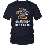 """Dogs and books"" Unisex T-Shirt - Gifts For Reading Addicts"