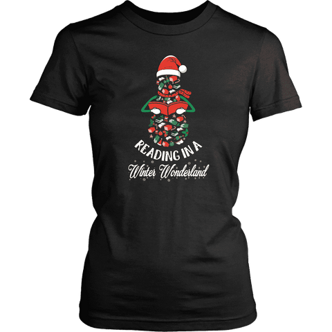 """Reading in a winter wonderland"" Women's Fitted T-shirt"