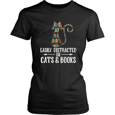 """Cats and books"" Women's Fitted T-shirt - Gifts For Reading Addicts"