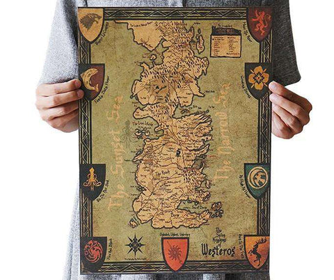 Game of Thrones 'Westeros' Vintage Style Map - Gifts For Reading Addicts