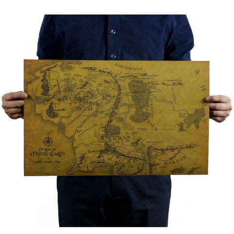 Vintage Style Middle Earth Map - Gifts For Reading Addicts