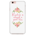 Reading floral phone case white - Gifts For Reading Addicts