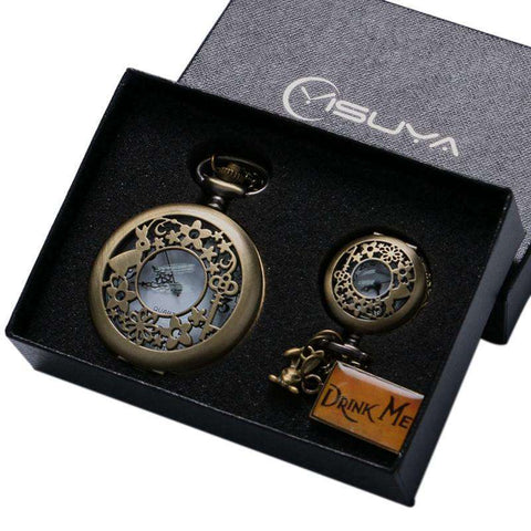 Retro Bronze Alice in Wonderland Drink Me Pocket Watch and Necklace Box Set - Gifts For Reading Addicts