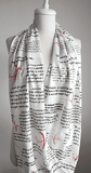 The Scarlet Letter Book White Infinity Scarf Handmade Limited Edition - Gifts For Reading Addicts