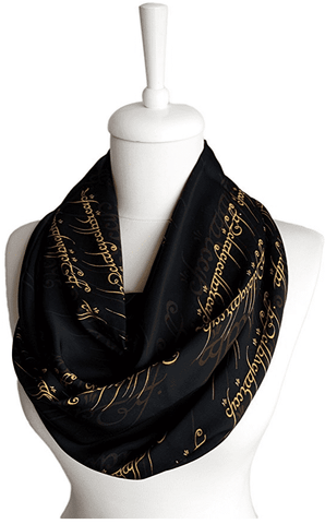Black Lord of the Rings Handmade Infinity Scarf Limited Edition - Gifts For Reading Addicts