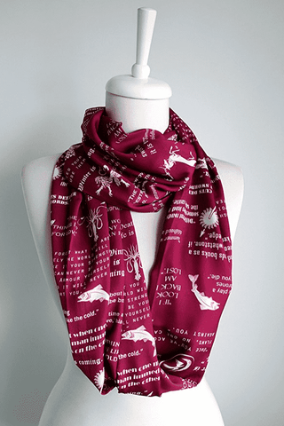 Claret Red Game Of Thrones Themes Infinity Scarf Handmade Limited Edition - Gifts For Reading Addicts