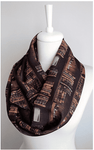 Bookshelf brown Infinity Scarf Handmade Limited Edition-For Reading Addicts