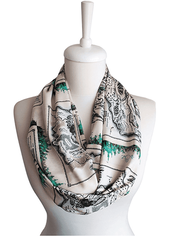 The Wonderful Wizard of Oz Map Infinity Scarf Handmade Limited Edition-For Reading Addicts