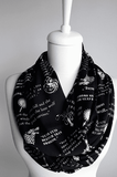 Black Game Of Thrones Themes Infinity Scarf Handmade Limited Edition-For Reading Addicts