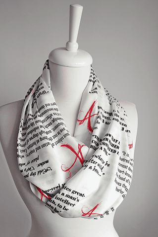 The Scarlet Letter Book White Infinity Scarf Handmade Limited Edition-For Reading Addicts
