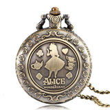 Vintage Quartz Alice in Wonderland Pocket Watch - Gifts For Reading Addicts