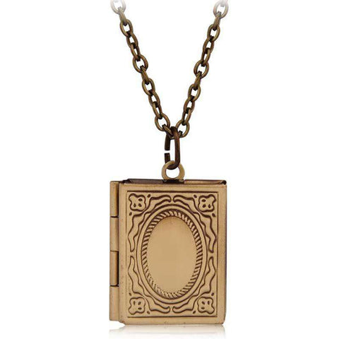 Vintage Book Locket Necklace - Gifts For Reading Addicts