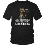 """Cats and books"" Unisex T-Shirt - Gifts For Reading Addicts"