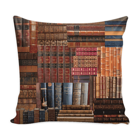 Books spines Pillow Cover Red-For Reading Addicts
