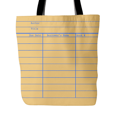 Library Card Tote, Yellow-For Reading Addicts
