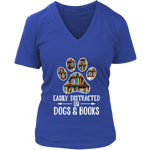 """Dogs and books"" V-neck Tshirt - Gifts For Reading Addicts"