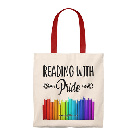 Reading With Pride Bookish Canvas Tote Bag - Vintage style - Gifts For Reading Addicts