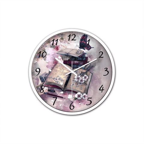 """Bookish""Non-Ticking Silent Wall Clock with Modern and Nice Design for Wall Decoration (White) - Gifts For Reading Addicts"
