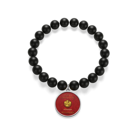 """Outlander""Red Book Cover Matte Onyx Bracelet - Gifts For Reading Addicts"