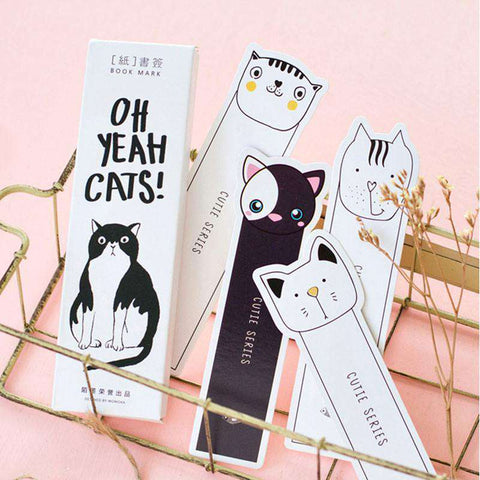 30 pcs/box Cute cat head paper bookmarks - Gifts For Reading Addicts