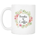 """books & coffee""11oz white mug - Gifts For Reading Addicts"