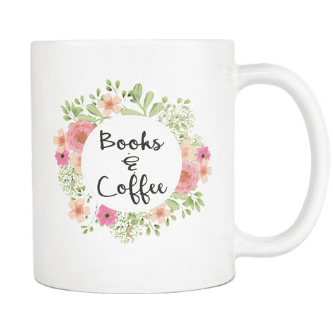 """books & coffee""11oz white mug"