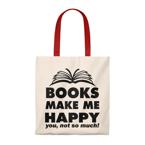 Books Make Me Happy Canvas Tote Bag - Vintage style - Gifts For Reading Addicts