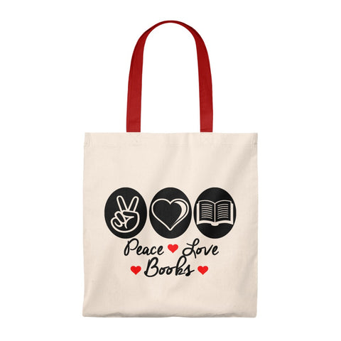 Peace Love Books Canvas Tote Bag - Vintage style - Gifts For Reading Addicts