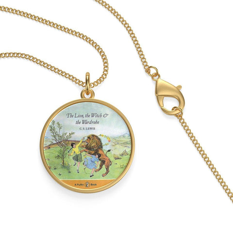 """The Lion,The Witch & The Wardrobe""Book Cover Single Loop Necklace - Gifts For Reading Addicts"