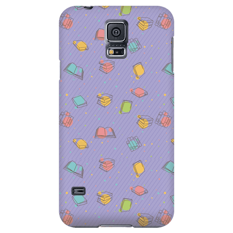 Colorful Bookish Pattern Phone Case Purple - Gifts For Reading Addicts