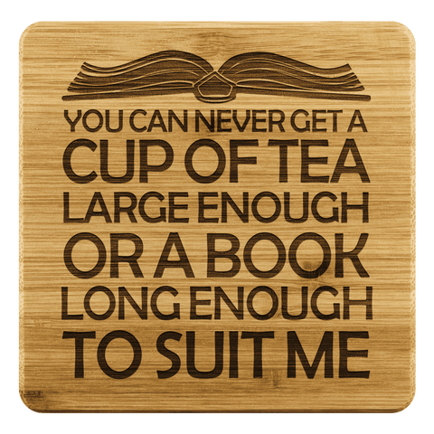 """A Book Long Enough""Bookish Bamboo Coaster - Gifts For Reading Addicts"