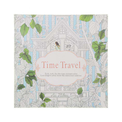 24 Pages Time Travel Coloring Book For Adult & kids - Gifts For Reading Addicts