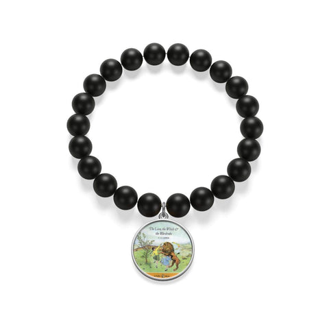 """The Lion,The Witch & The Wardrobe""Book Cover Matte Onyx Bracelet - Gifts For Reading Addicts"