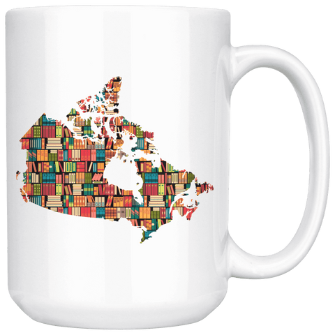 """Canada Bookish Map""15oz White Mug"