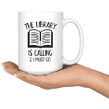 """The library""15oz white mug"