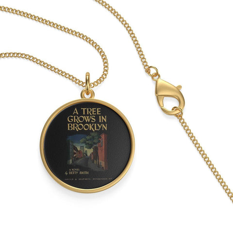 """A Tree Grows In Brooklyn""Book Cover Single Loop Necklace - Gifts For Reading Addicts"