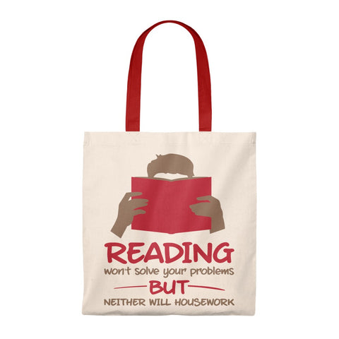 Reading Won't Solve Your Problems Canvas Tote Bag - Vintage style - Gifts For Reading Addicts