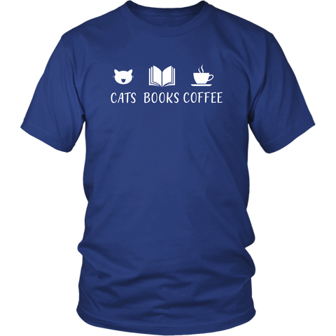 """Cats Books Coffee"" Unisex T-Shirt - Gifts For Reading Addicts"