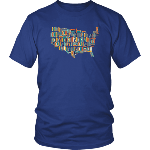 """USA Bookish Map"" Unisex T-Shirt"
