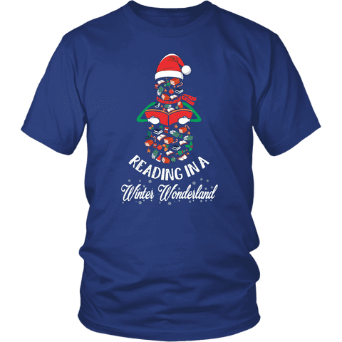 """Reading in a winter wonderland"" Unisex T-Shirt - Gifts For Reading Addicts"