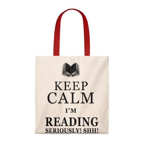 Keep Calm I'm Reading Canvas Tote Bag - Vintage style - Gifts For Reading Addicts