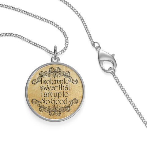 """I Solemnly Swear That I Am Up To No Good""HP Single Loop Necklace - Gifts For Reading Addicts"