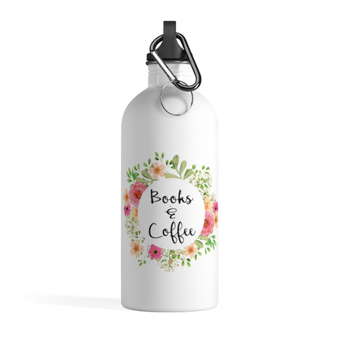Books & Coffee - Stainless Steel Eco-friendly Water Bottle with bookish floral design - Gifts For Reading Addicts