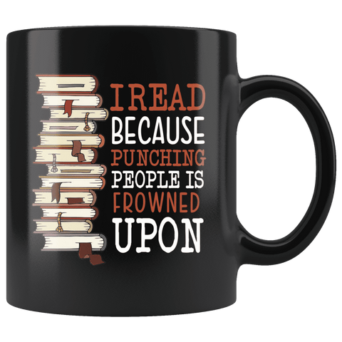 """I Read""11oz black mug"