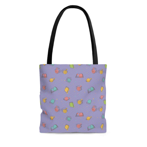 Purple Bookish Pattern Tote Bag - Gifts For Reading Addicts