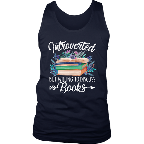 """Introverted But Willing To Discuss Books"" Men's Tank Top - Gifts For Reading Addicts"
