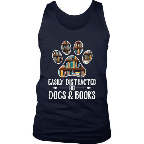 """Dogs and books"" Men's Tank Top - Gifts For Reading Addicts"