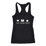 """Cats Books Coffee"" Women's Tank Top - Gifts For Reading Addicts"