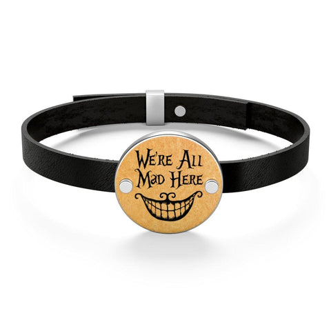"""We're All Mad Here""Alice In Wonderland Leather Bracelet - Gifts For Reading Addicts"
