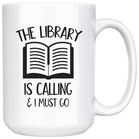 """The library""15oz white mug - Gifts For Reading Addicts"